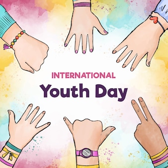 Watercolor youth day with hand signs