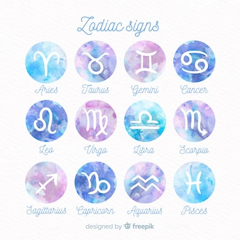 Watercolor zodiac signs pack
