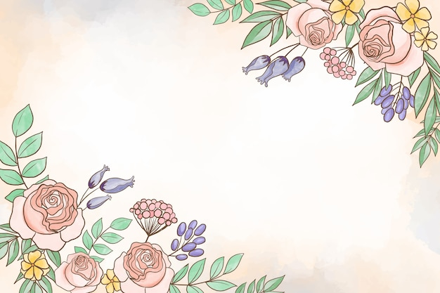 Watercoloral floral theme for background in pastel colors