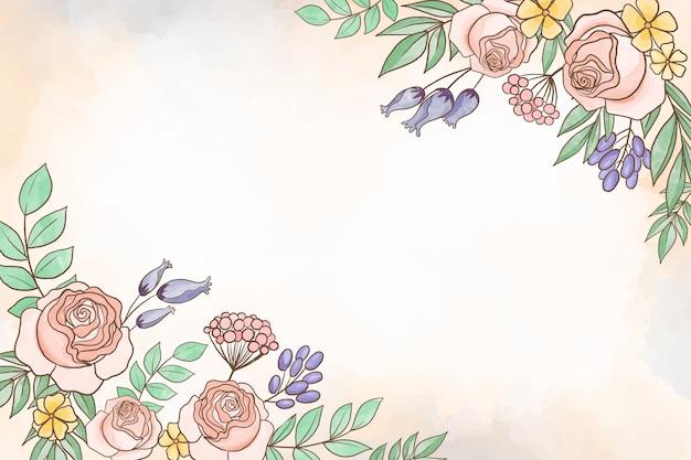 パステルカラーの背景の水彩画の花のテーマ