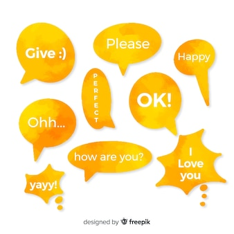 Watercolored yellow speech bubbles with variety of expressions