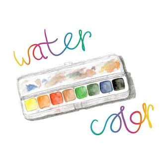水彩画とペイントボックスレインボー水彩パレット。ベクターハンド塗料