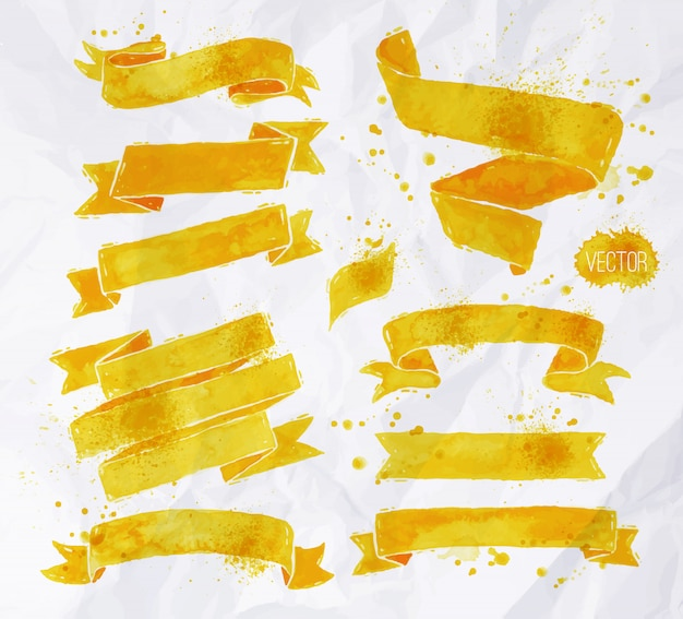 Watercolors ribbons  yellow color