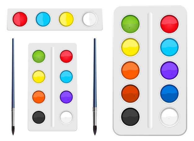 Акварель набор инструментов дизайн иллюстрация