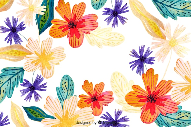 Watercolour abstract floral background