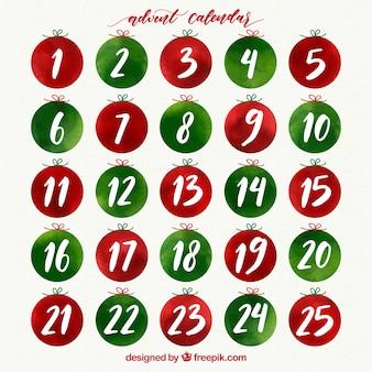Календарь акварели в зеленом и красном