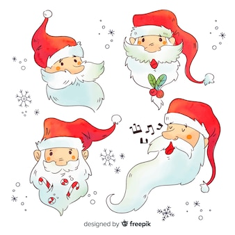 Watercolour avatars of santa claus character