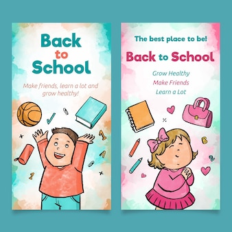 Watercolour back to school banners