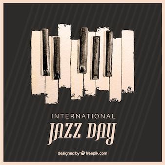 国際ジャズの日のための水彩の背景