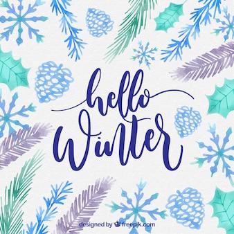 Watercolour background hello winter