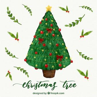 飾られたクリスマスツリーの水彩画の背景