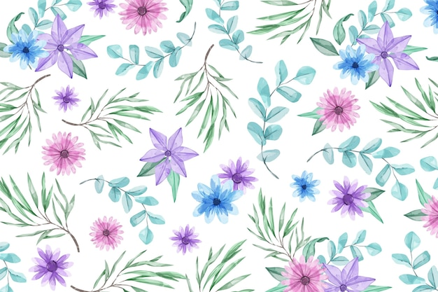 파란색과 보라색 꽃으로 수채화 배경