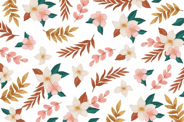 Watercolour background with pink flowers