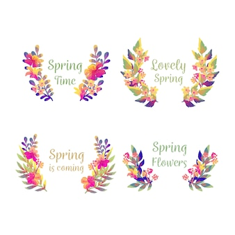 Watercolour badge collection with gradient leaves