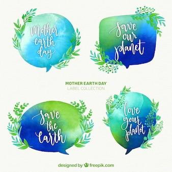 国際地球の日の水彩バッジ