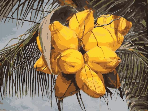 Акварель красивая рисованная кокосовая иллюстрация