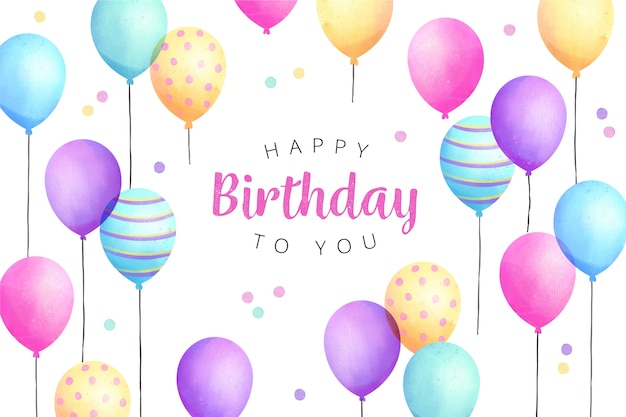 Watercolour birthday background balloons and confetti