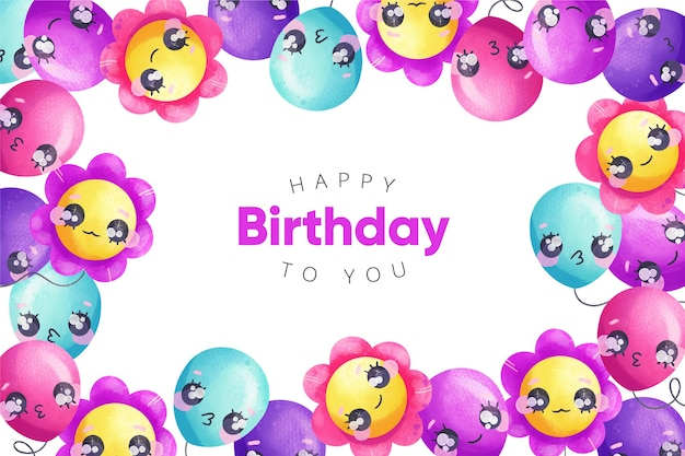 Watercolour birthday background balloons with faces