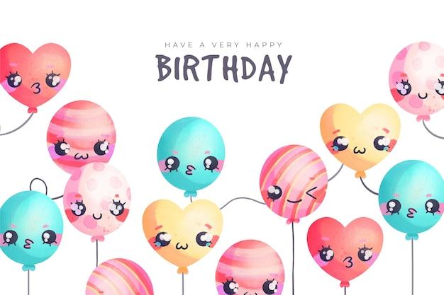 Watercolour birthday background balloons