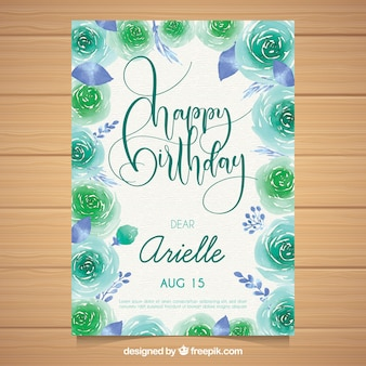 Watercolour birthday card with beautiful flowers