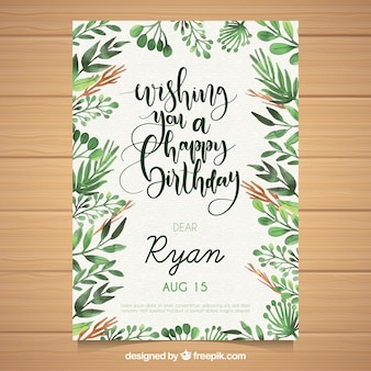 Watercolour birthday card with leaves