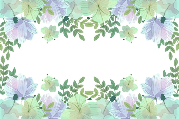 Watercolour blue and green spring background frame with copy space