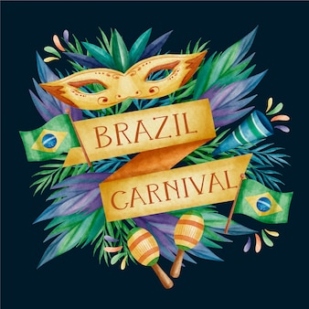 Watercolour brazilian carnival design with golden ribbons