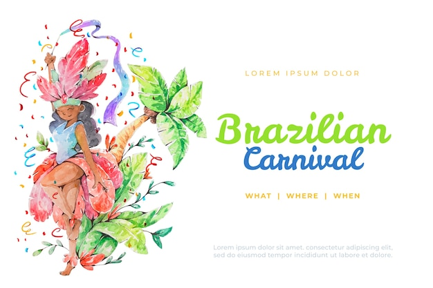 Watercolour brazilian carnival with lettering