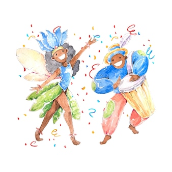 Watercolour brazilian carnival with people in costumes