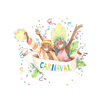Watercolour brazilian carnival with smiley people and confetti