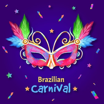 Watercolour brazilian colourful mask and confetti