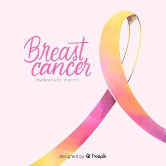 Watercolour breast cancer awareness with ribbon