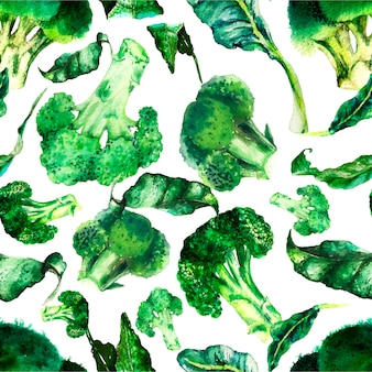 Watercolour broccoli seamless pattern