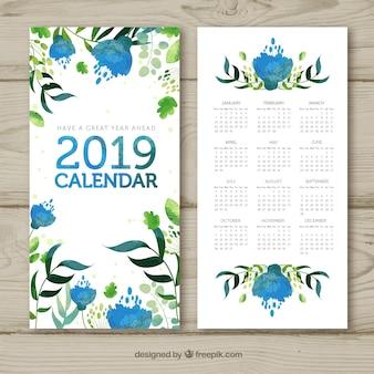 Watercolour calendar for 2019