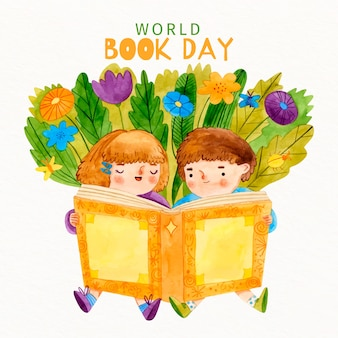 Watercolour children reading from a book