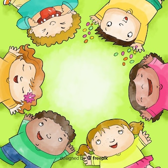 Watercolour children's day forming a circle