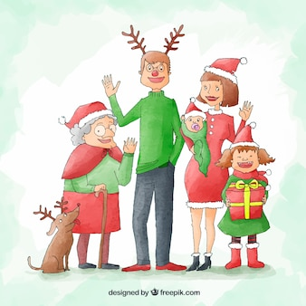 큰 행복 한 가족과 함께 수채화 크리스마스 배경