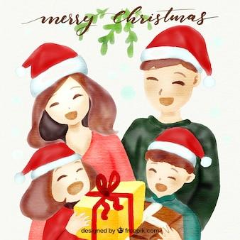 행복 한 가족과 함께 수채화 크리스마스 배경