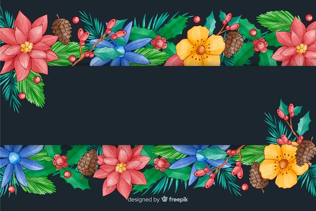 Watercolour christmas background with colorful flowers