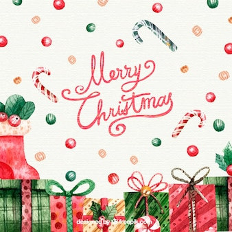 Watercolour christmas background with gift boxes