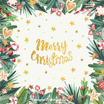 Watercolour christmas background with golden letters