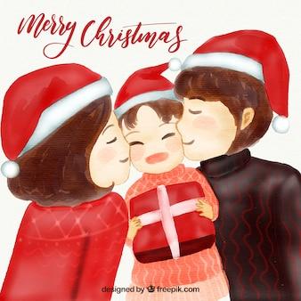 부모와 자녀와 함께 수채화 크리스마스 배경