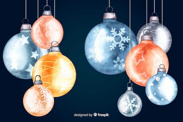 Watercolour christmas balls on dark background