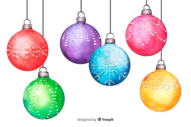 Watercolour christmas balls on white background