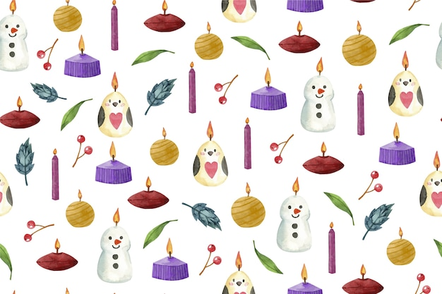 Watercolour christmas candle background