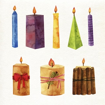 Watercolour christmas candle collection