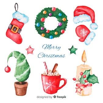 Watercolour christmas element collection