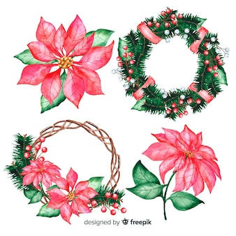 Watercolour christmas flowers on wreath
