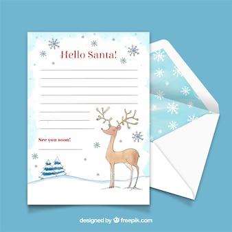 순 록 수채화 크리스마스 편지