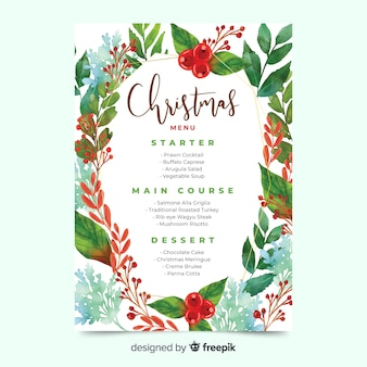 水彩クリスマスメニューテンプレートと緑の葉